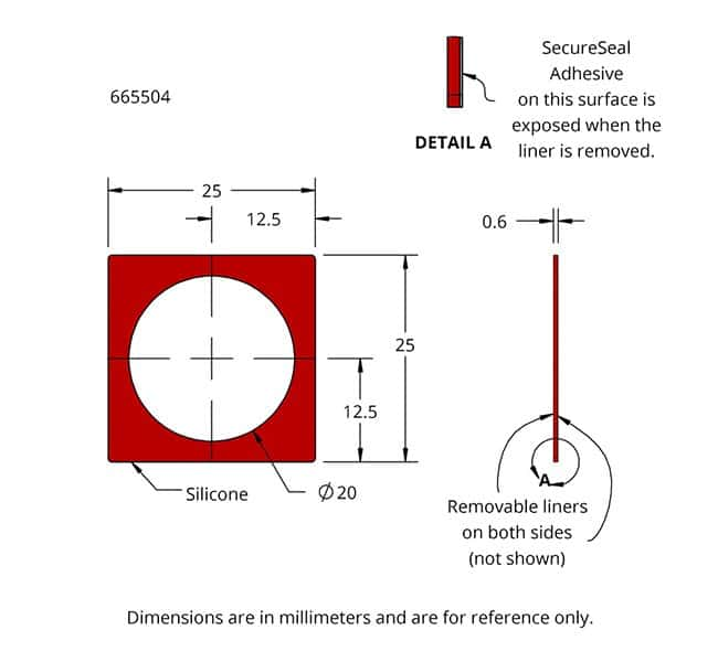 Drawing of Press-to-Seal Silicone Isolator with Adhesive