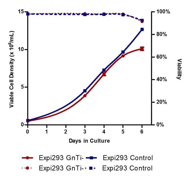Growth kinetics of Expi293F GnTI– cells compared to Expi293F cells