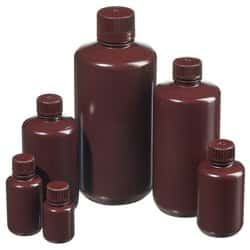 Nalgene™ Narrow-Mouth Opaque Amber HDPE Packaging Bottles with Closure: Bulk Pack