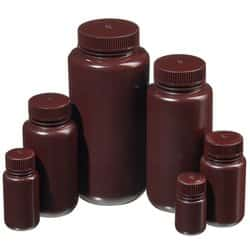 Nalgene™ Wide-Mouth Opaque Amber HDPE Packaging Bottles with Closure: Bulk Pack
