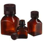 Nalgene™ Square Amber PETG Media Bottles with Closure: Nonsterile, Shrink-Wrapped Trays