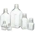 Nalgene™ PETG Square Media Bottles without Closure: Sterile, Shrink-Wrapped Trays