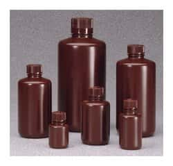Nalgene™ Boston Round Narrow-Mouth Opaque Amber HDPE Bottles with Closure: Bulk Pack