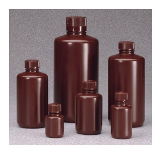 Nalgene™ Boston Round Narrow-Mouth Opaque Amber HDPE Bottles with Closure: Bulk Pack