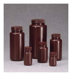 Nalgene™ Wide-Mouth Opaque Amber HDPE Bottles with Closure: Bulk Pack