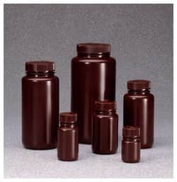Nalgene™ Wide-Mouth Amber HDPE Economy Bottles with Closure