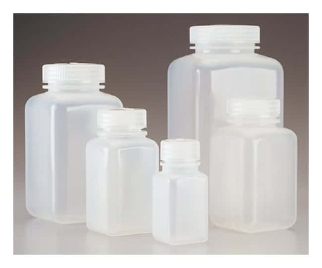 Nalgene™ Square Wide-Mouth PPCO Bottles with Closure: Bulk Pack, Autoclavable