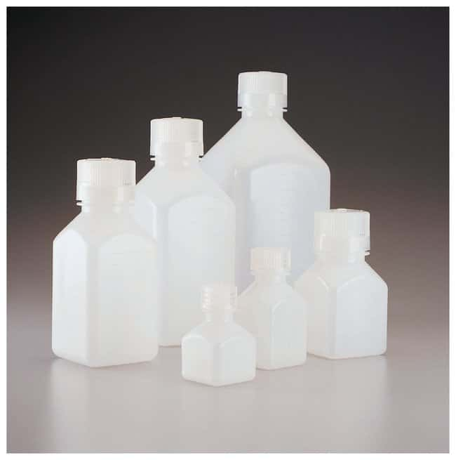 Nalgene™ Square Narrow-Mouth HDPE Bottles with Closure