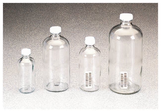 I-Chem™ Boston Round Narrow-Mouth Clear Glass Bottles with Closure