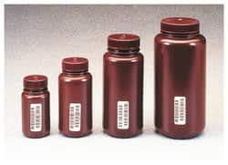 Nalgene™ Certified Wide-Mouth Amber HDPE Bottle with Closure
