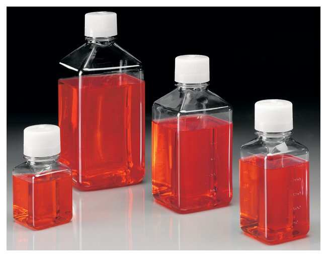 Nalgene™ Square PET Media Bottles with Closure: Sterile, Shrink