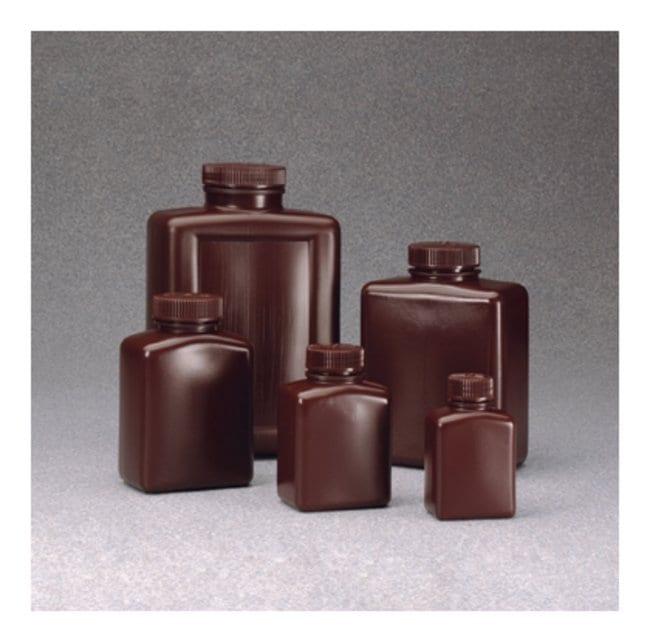 Nalgene™ Rectangular Opaque Amber HDPE Bottles with Closure: Bulk Pack