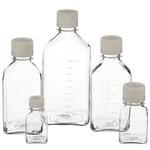 Nalgene™ Square PETG Media Bottles with Septum Closure: Sterile, Shrink-Wrapped Trays