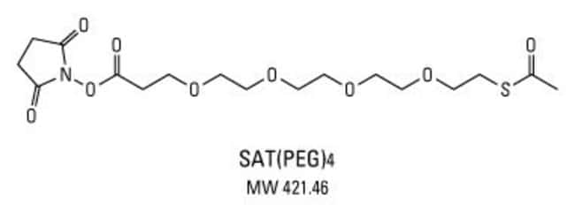<ul><li>Functional groups: NHS ester (amine-reactive) and sulfhydryl (protected)</li><li>Chemical name: N-succinimidyl S-acetyl (thiotetraethyleneglycol) ester</li><li>Alternative names: dPEG4 SATA; P