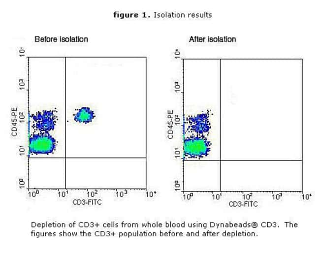 CD3+ population in whole blood before and after depletion.