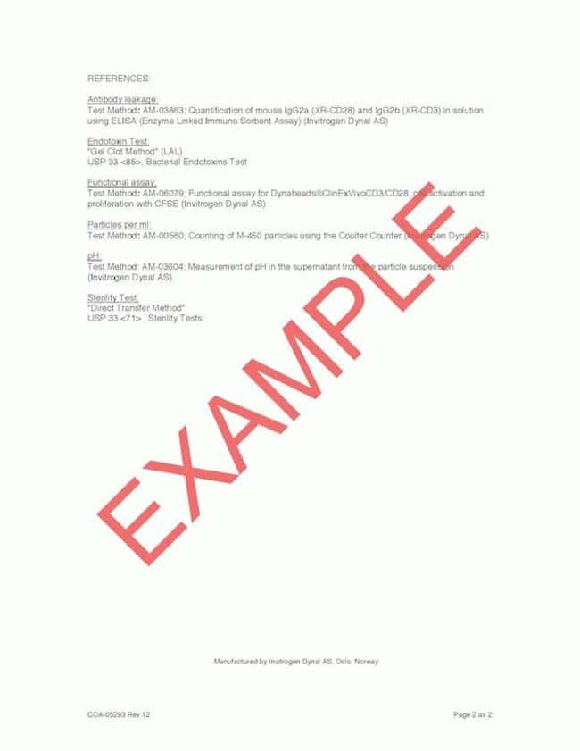 Example CTS™ Product COA - page 2