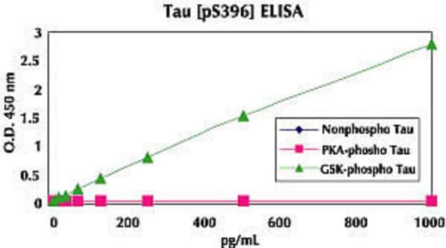 Figure shows specificity of Tau [pS396] ELISA for GSK-3β phosphorylated recombinant Tau.