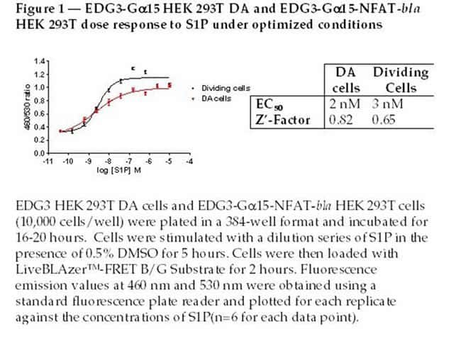 Figure 1 - EDG3-Gα15 HEK 293T DA and EDG3- Gα15-NFAT-bla HEK 293T dose response to S1P under optimized conditions