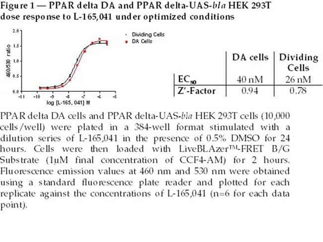 Figure 1  -  PPAR delta DA and PPAR delta-UAS-bla HEK 293T dose response to L-165,041 under optimized conditions