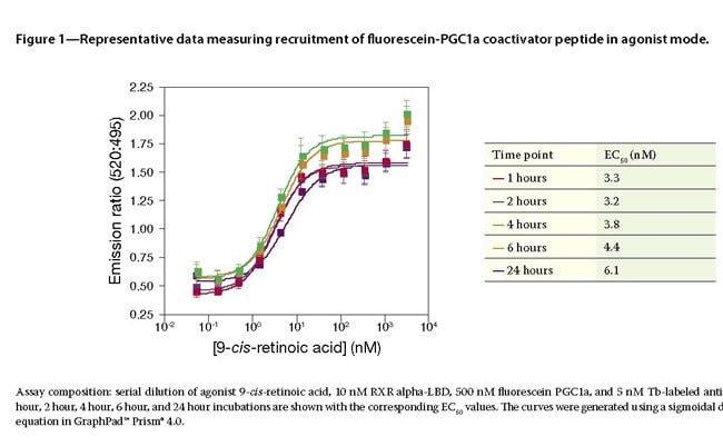 Figure 1 - Representative data measuring recruitment of fluorescein-PGC1a coactivator peptide in agonist mode.