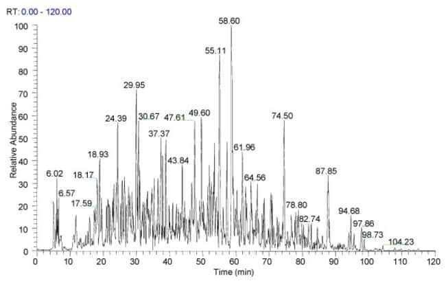 Chromatogram of 200ng Pierce HeLa Protein Digest Standard separated using a Thermo Scientific Acclaim PepMap100 3µm x 75µm x 15cm column (Part No. 160321) with a 2-35% gradient (A:0.1% FA in