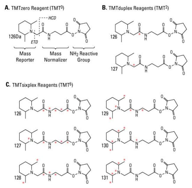 A. Functional regions of the TMT reagent structure including MS/MS fragmentation sites by higher energy collision dissociation (HCD) and electron transfer dissociation (ETD).B. TMTduplex reagent struc