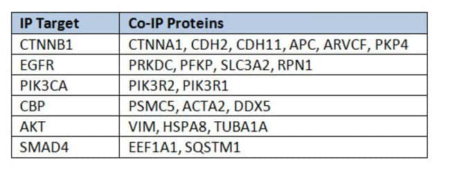 List of co-immunoprecipitated proteins