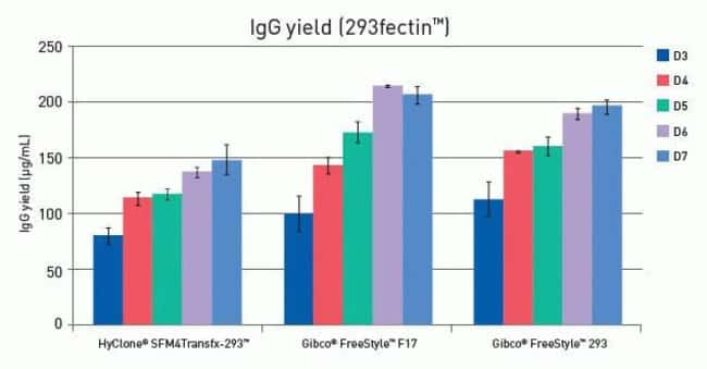 IgG yield from transfected HEK 293 cells.