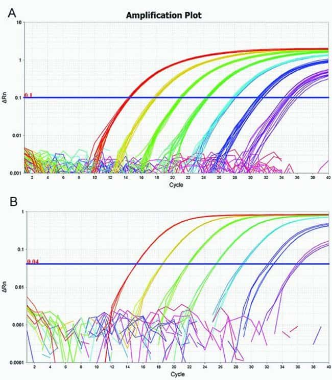 Figure 4. Excellent dynamic range of TaqPath™ 1-Step RT-qPCR Master Mix, CG