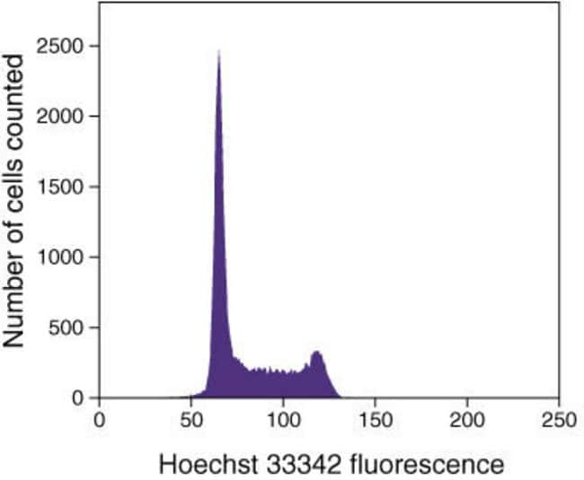 Hoechst 33342 - Histogram of live Jurkat cells (T-cell leukemia, human) stained with 5 µM Hoechst 33342 showing DNA content distribution. G0/G1 and G2/M phase histogram peaks are separated by the S-ph