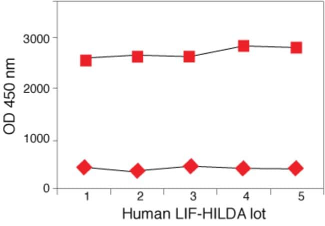 Human LIF-HILDA ELISA. Data show lot-to-lot consistency when analyzing 2 control samples according to kit protocol.