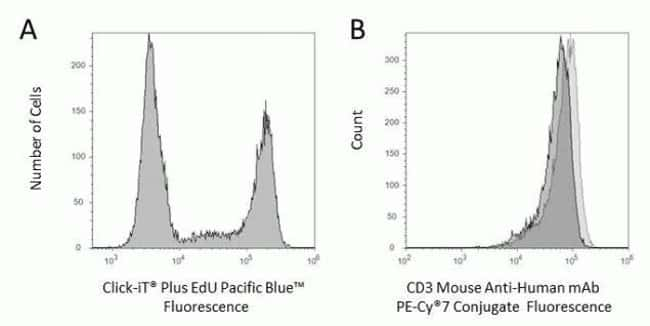 Fluorescence signal from Pacific Blue™ Click-iT® Plus EdU Flow Cytometry Assay Kits and CD3 Mouse Anti-Human mAb PE-Cy®7 Conjugate.
