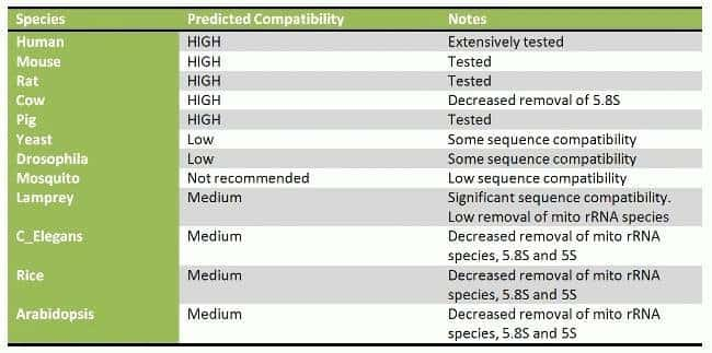 Predicted Compatibilities for RiboMinus™ Eukaryote System/Kit v2 and Low Input RiboMinus™ Eukaryote System v2.