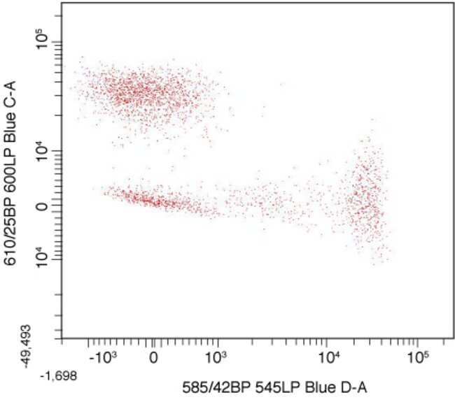 Dual color flow cytometry dot plot showing mouse anti human CD8 RPE vs. mouse anti human CD4 biotin followed by streptavidin RPE-Alexa Fluor® 610.