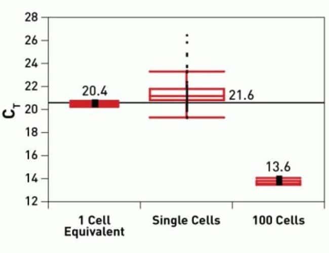 Single cell equivalent samples demonstrate nearly ideal expected linearity and sensitivity when compared to the 100-cell sample control (6.8 C<sub>t</sub> difference). Individual single cells exhibit