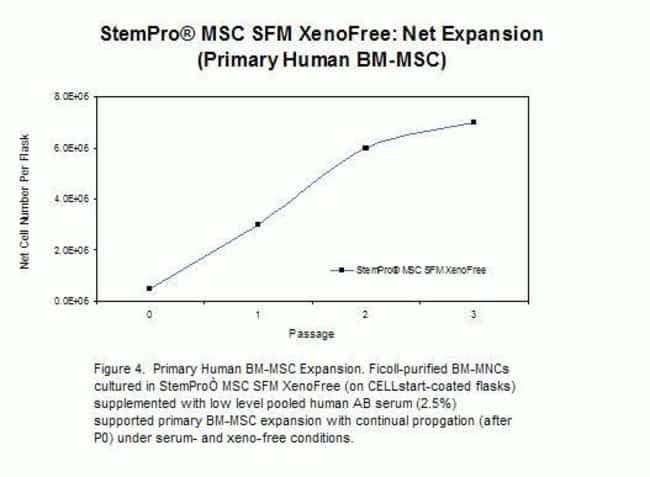 Purified bone marrow mononuclear cells cultured in StemPro® MSC SFM XenoFree supplemented with low level pooled human AB serum (2.5%) support primary BM-MSC expansion with continual propagation (a