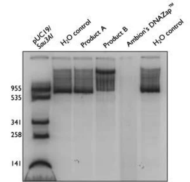 Effect of various DNA decontamination solutions on radiolabeled RNA transcripts.