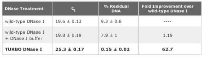 TURBO™ DNase removes 63-fold more plasmid DNA template from an in vitro transcription reaction than wild type DNase I.