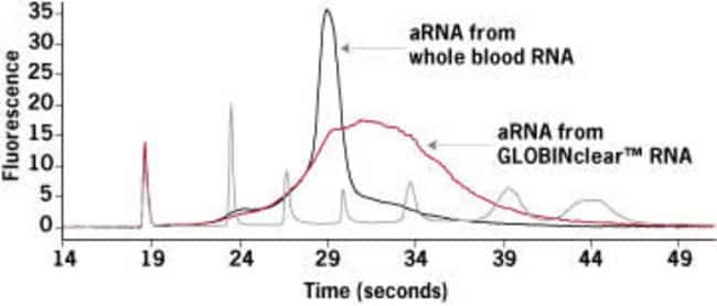 Electropherogram of amplified RNA from treated and untreated blood.