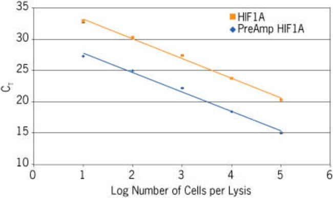 A dilution series of 10–100,000 HeLa cells was processed in triplicate with the TaqMan® PreAmp Cells-to-C<sub>T</sub>™ Kit. The gene HIF1A (Assay ID Hs00153153_m1) was analyzed from cDNA (not pr