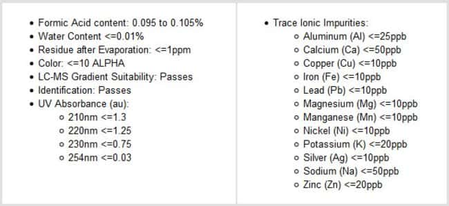 Specifications of Thermo Scientific 0.1% Formic Acid (v/v) in Acetonitrile