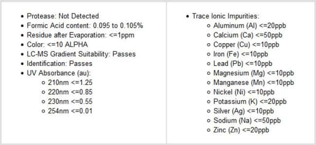 Specifications of Thermo Scientific 0.1% Formic Acid (v/v) in Water