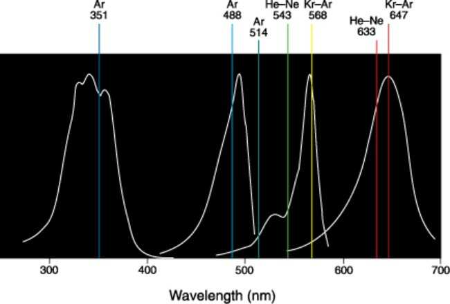 Normalized excitation spectra of the dyes contained in the FocalCheck™ microspheres.