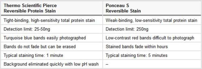 Specifications compared to Ponceau S reversible stain